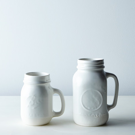 Porcelain Ball Jar Mug with Handle