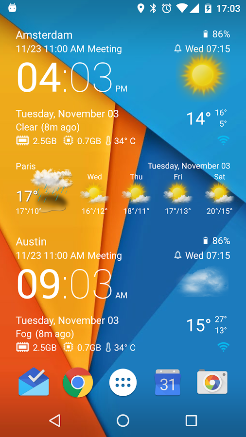 Screenshots of Transparent clock & weather for Android