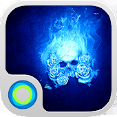 Blue Flame Skull Cool Theme