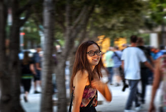 Photo: One of those serendipitous moments when I was moving the camera at the same speed she was walking.