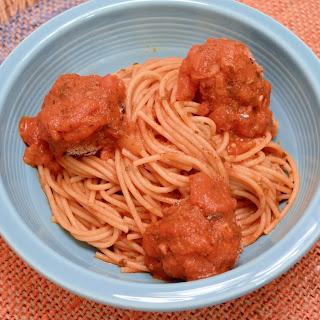 Classic Spaghetti Marinara With Vegan Kidney Bean Meatless Meatballs.