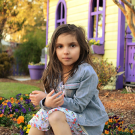 eve in the gardens by Mark Warick - Babies & Children Child Portraits ( gardens, flowers, evelina )
