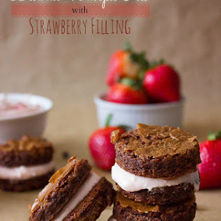 Brownie Whoopie Pies with Strawberry Filling