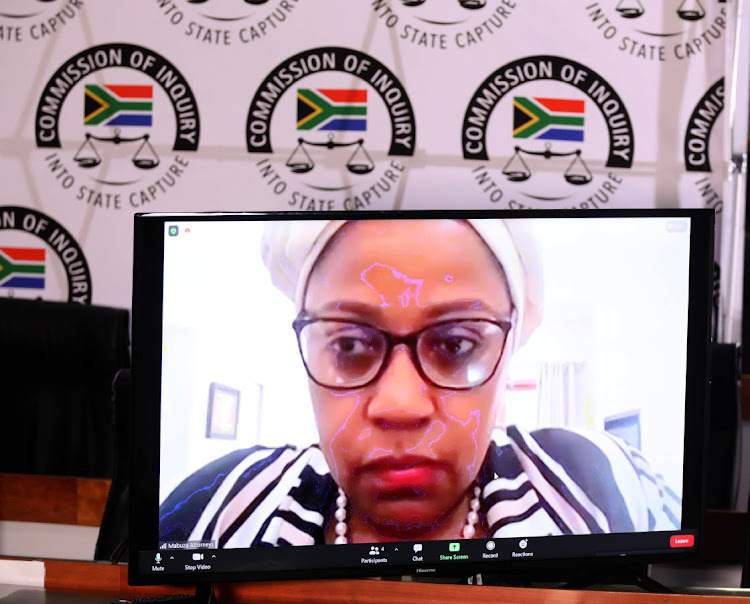 Former SAA Chairperson Dudu Myeni testifying via Zoom at Zondo the commission of inquiry into state capture on Wednesday.