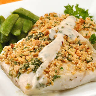 Cashew-Crusted Flounder with Chive Remoulade.