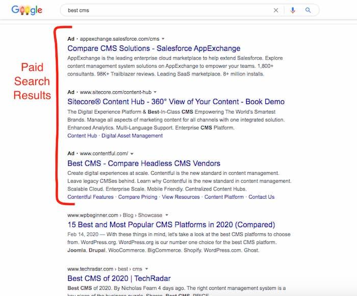 Kết quả tìm kiếm có trả tiền trên Google là Google Ads và chi phí cao hơn về lâu dài khi so sánh PPC và SEO không phải trả tiền