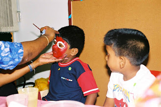 Photo: Face Painting.--we had many spiderman and other heros.