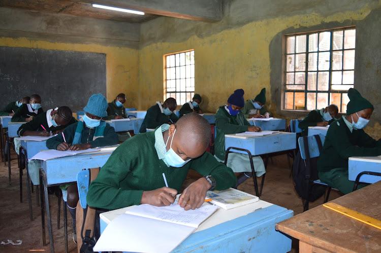 Standard 8 pupils at Tinganga Model Primary School in Kiambu subcounty.