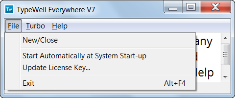 TypeWell Everywhere File menu