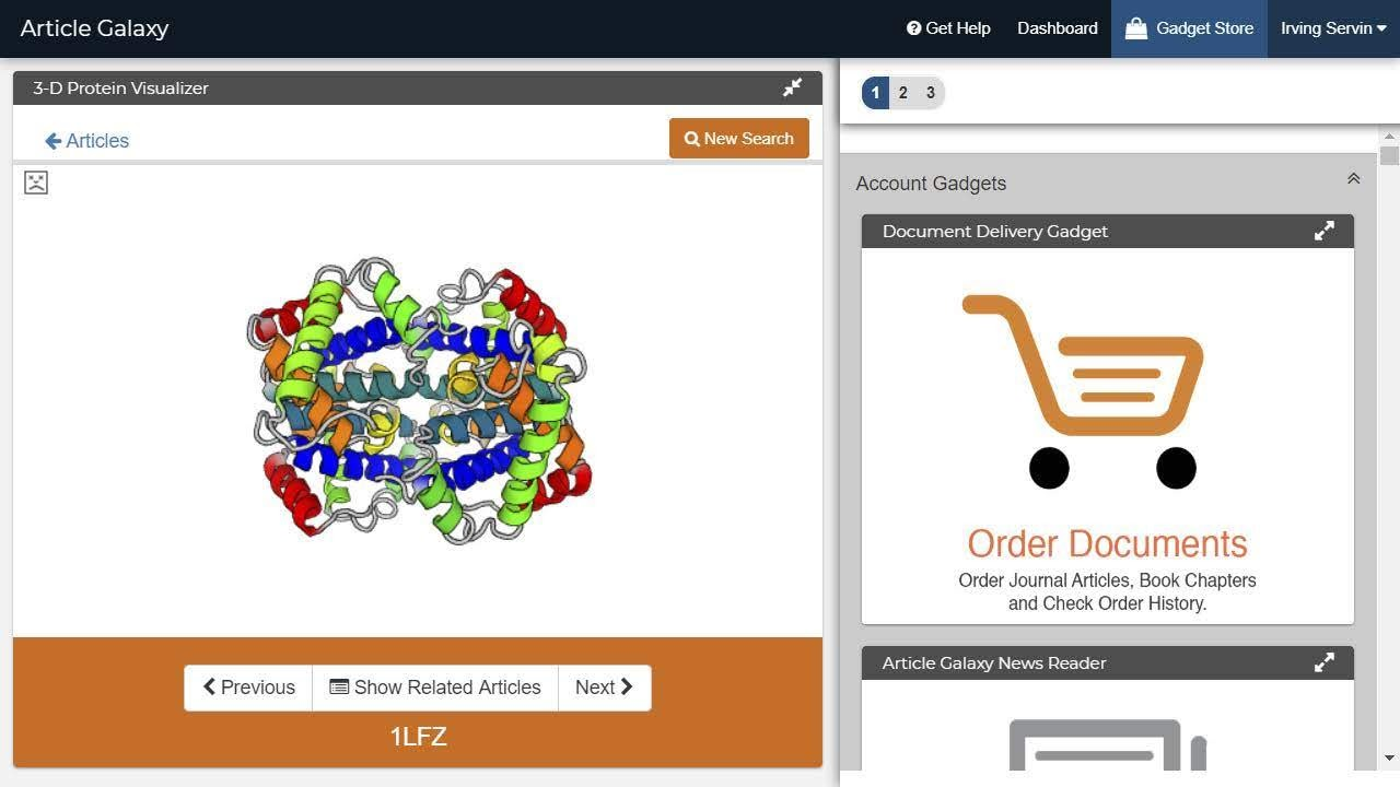 Visualize Protein Structures with the Article Galaxy 3D Protein Viewer. Source: Article Galaxy
