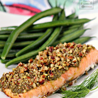 Baked Salmon with Pesto and Pecans