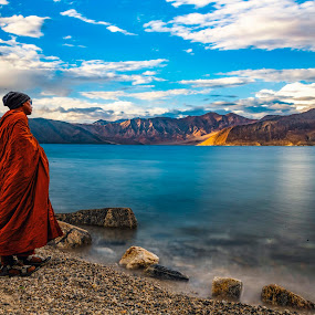 One with Nature by Santanu Majumder - Landscapes Mountains & Hills ( himalayas, pangong tso, india, ladakh, landscape )
