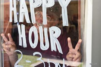 Photo: Bernie is pleased it is 'Happy Hour'