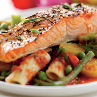 Salmon Fillet With Vegetable Pasta In Tomato Sauce.