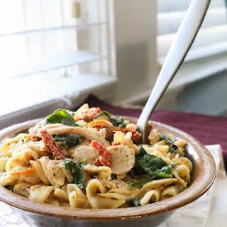 Creamy Crockpot Italian Chicken Pasta.