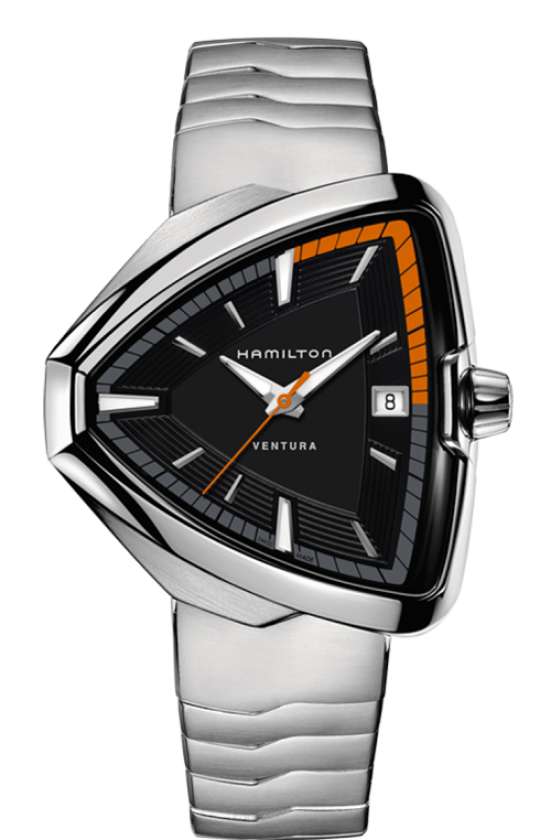 Ventura Elvis80 Quartz-The Elvis80 Quartz comes in a stainless steel case and a black dial. This Man watch has a stainless steel silver strap and is 50 meters water resistant