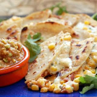 Creamy Corn and Bean Quesadillas.