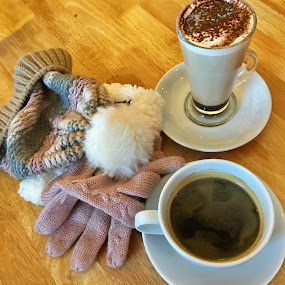 Warm drinks, gloves and a beany to  eat the winter cold by Annalie Coetzer - Food & Drink Alcohol & Drinks ( warm, winter, cuppachino, coffee, gloves, pink, drinks )