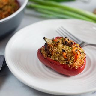 Quinoa Stuffed Peppers with Smoked Tofu.