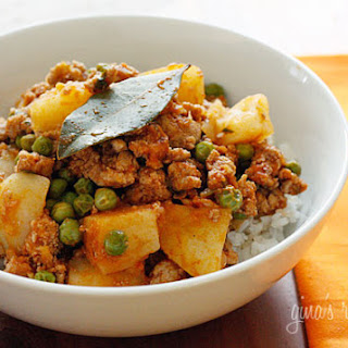 Ground Turkey with Potatoes and Spring Peas.