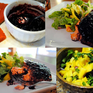 Wild Alaskan Salmon with Raspberry Chipotle Sauce and Salad with Mango and Honey Lime Vinaigrette
