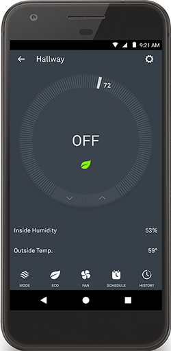 Nest app, thermostat off