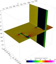 Photo: Dampfdiffusions-Stromdichten auf Schnittebenen (zur Identifikation von Dampfdiffusionsbrücken) Farbskala: Psychologisch Werteintervall: 0-60 mg/m²h