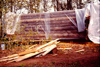 Photo: Log walls covered with plastic.
