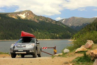 Photo: We canoed our gear to the far side of the lake, hiked in a little ways and set up camp.