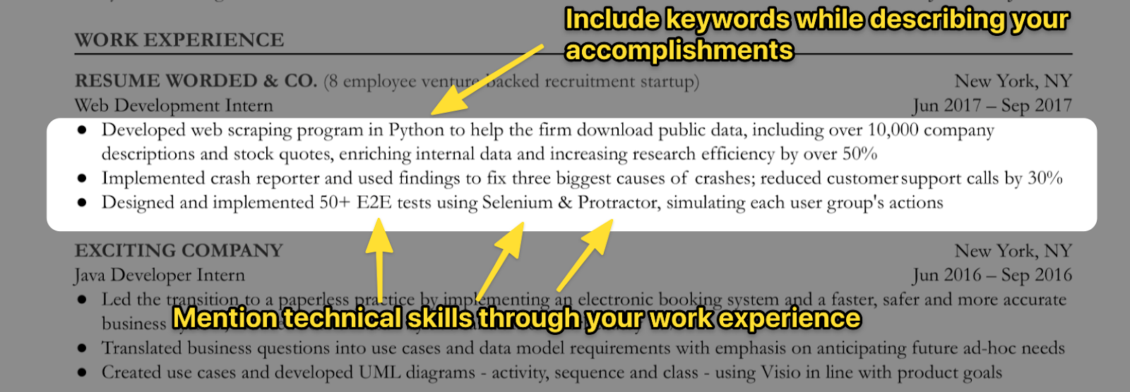 Use keywords in your work experience section to get past ATS
