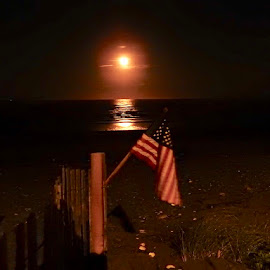 American flag moon by Ann Goldman - Novices Only Landscapes ( full moon, flag, ocean, beach, night, american, photographer )