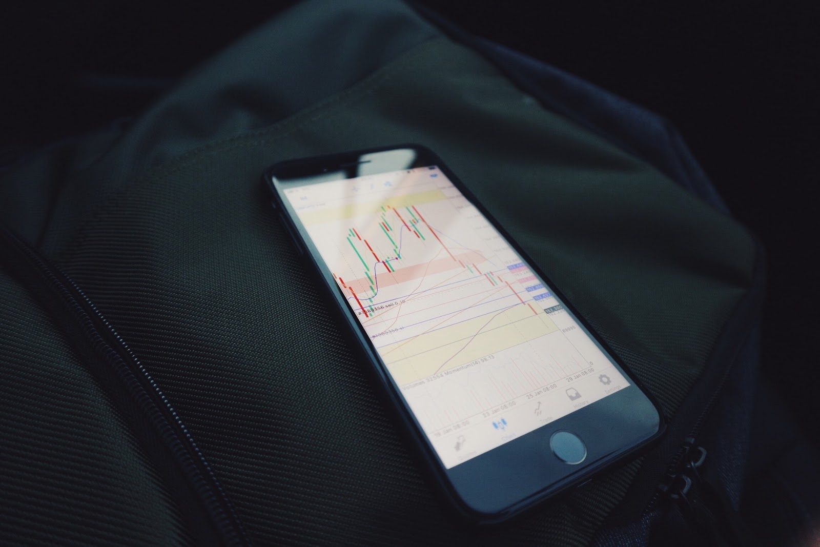 Smartphone on dark background displaying stock market on screen