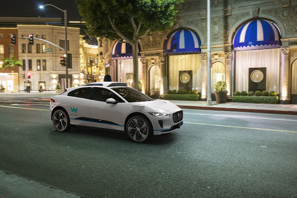 Waymo's fully self-driving Jaguar I-PACE electric SUV 4 (City Nighttime)