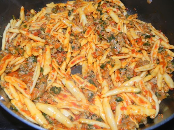 Now add your drained pasta and you are ready to eat.   Super easy to...