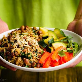 Wild Rice with (Black)Garbanzo Beans.