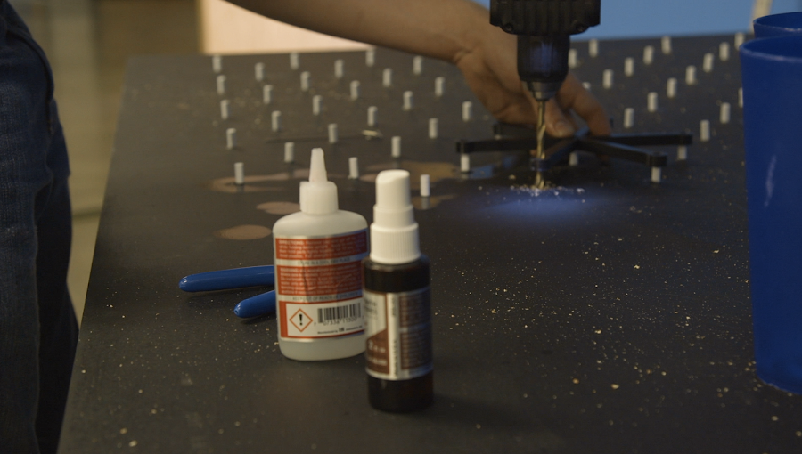 Drilling divots into the board was the easiest and quickest way to solve a problem on the fly.