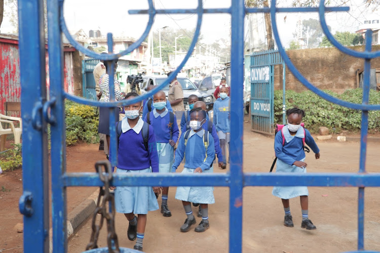 Pupils at Olympic Primary School, Kibera, on the first day of full reopening of schools on January 4, 2021.
