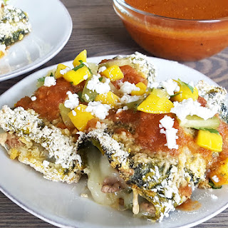 Baked Chile Relleno with Quick Mango Starfruit Salsa.