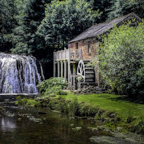 Rutter Force and Mill by Jim Keating - Buildings & Architecture Other Exteriors ( mill, waterwheel, waterfall, trees, river,  )