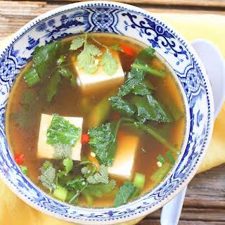 Spicy Gai Lan and Tofu Soup.