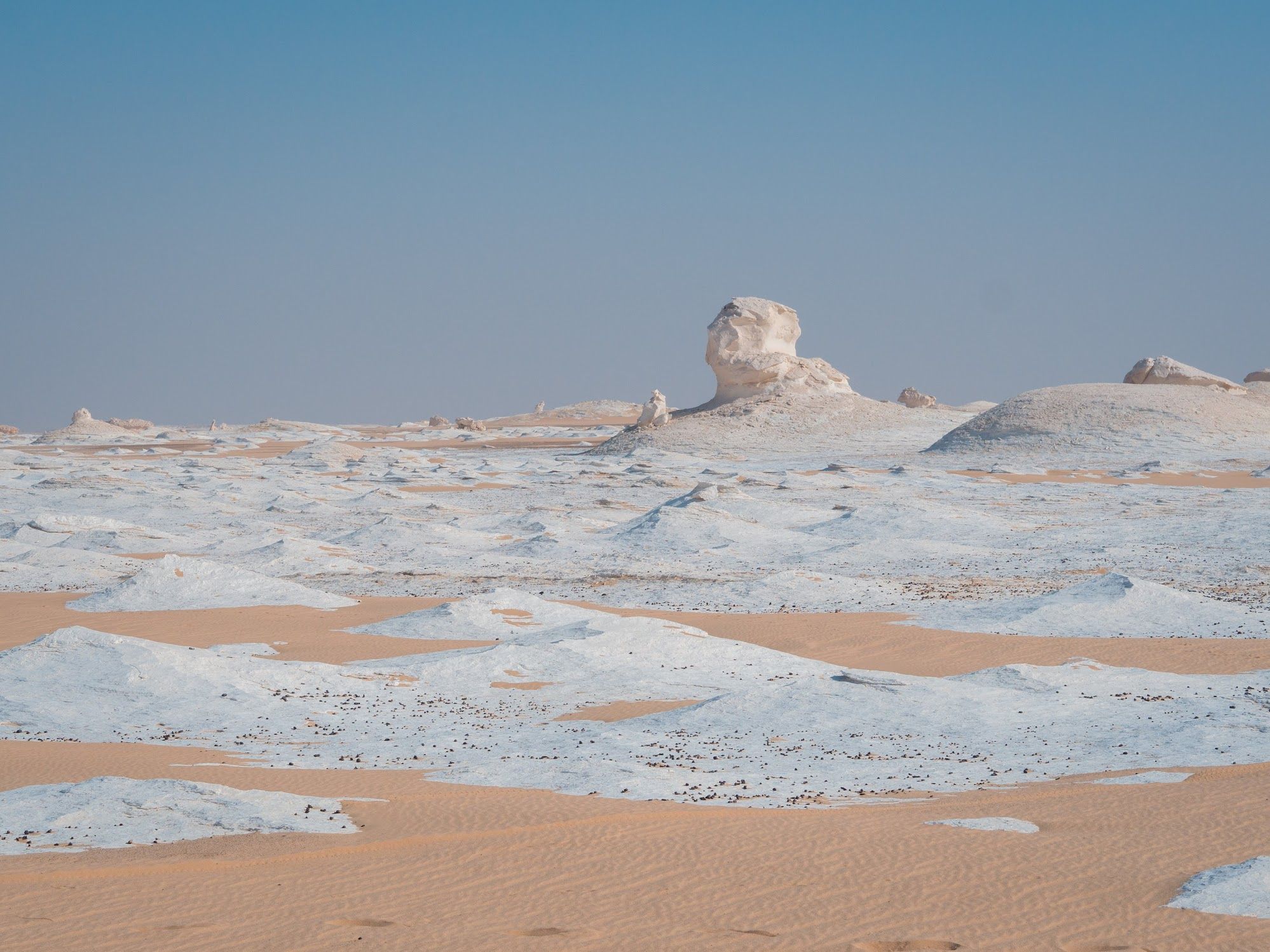white chalk formations in white desert, egypt