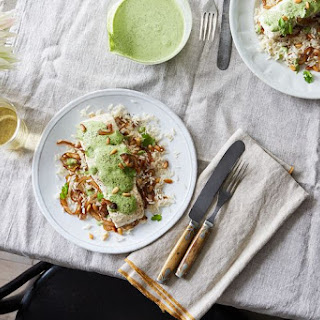 Lebanese Fish with Herby Tahini Sauce Over Rice Recipe