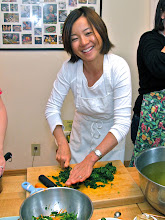 Photo: Jean chopping the ivy gourd leaves