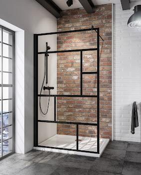 Duschwand Walk In Black Style, 1400x2000 mm, Schwarz, Sicherheitsglas Atelier 1 mit Fixil