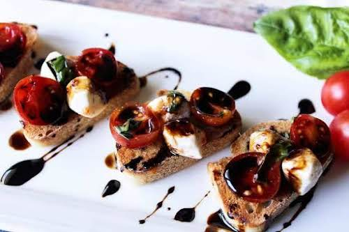 """Bruschetta Caprese With Balsamic Vinegar Reduction""""My youngest daughter Laura and I made..."""