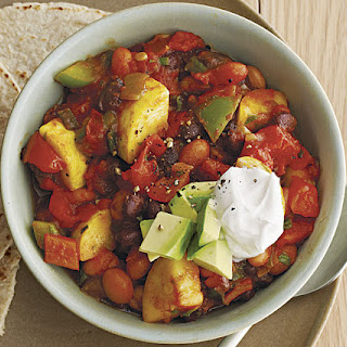 Spicy Slow-Cooker Veggie Chili with Summer Squash and Jalapeños.