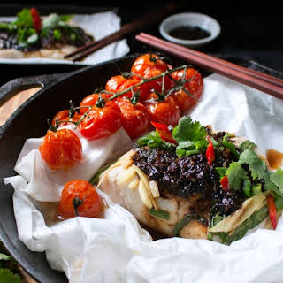 Baked Cod Parcels with Black Bean Sauce.