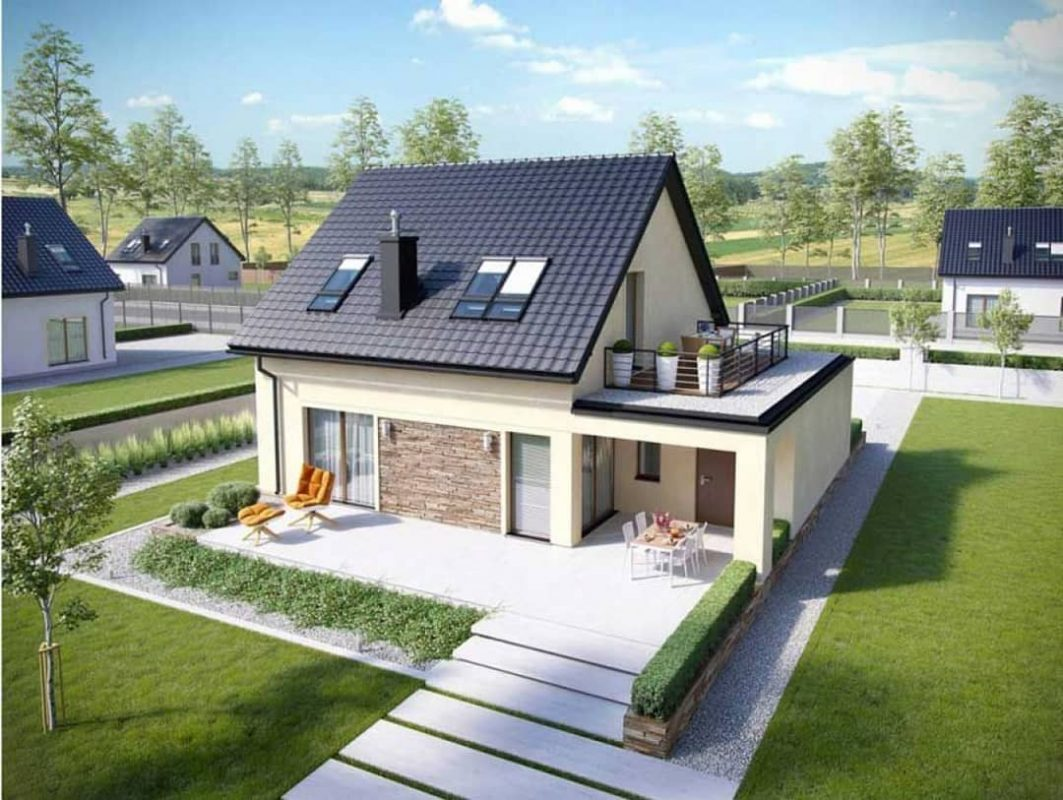 Thiết kế nhà ở sử dụng tôn lợp mái màu ghi xám