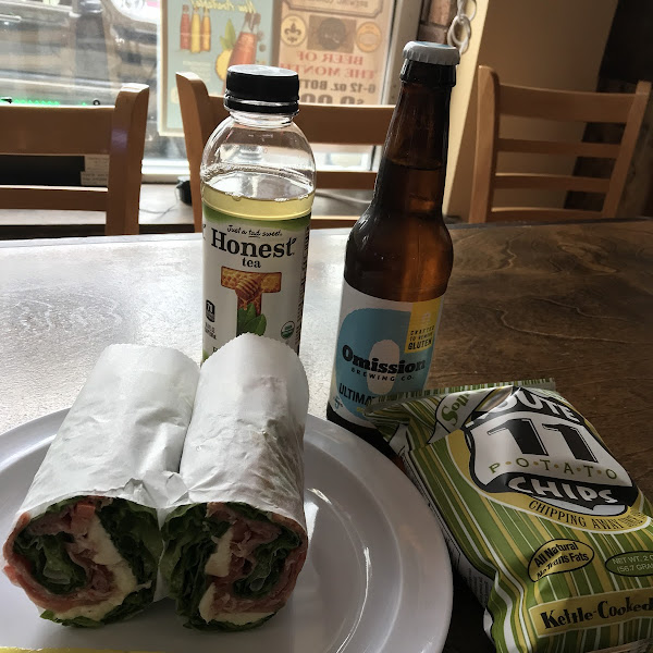 Caprese wrap, gf chips and beer.