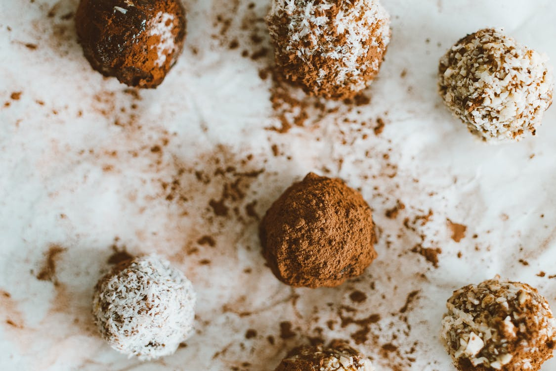 Brown and white chocolate truffles made with organic wholesale chocolate